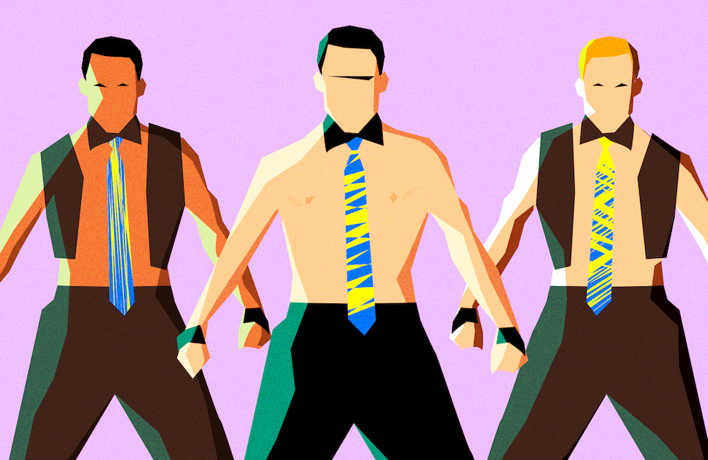 Illustration of male strippers