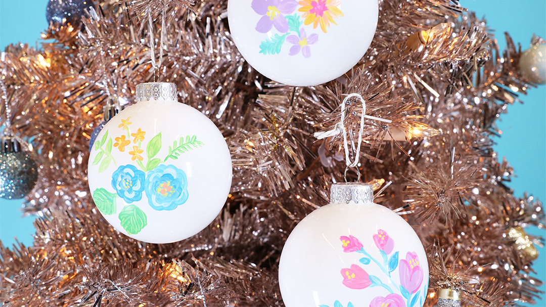 hand-painted floral ornaments