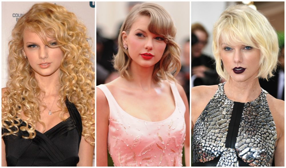 3 photos of taylor swift side by side documenting beauty evolution