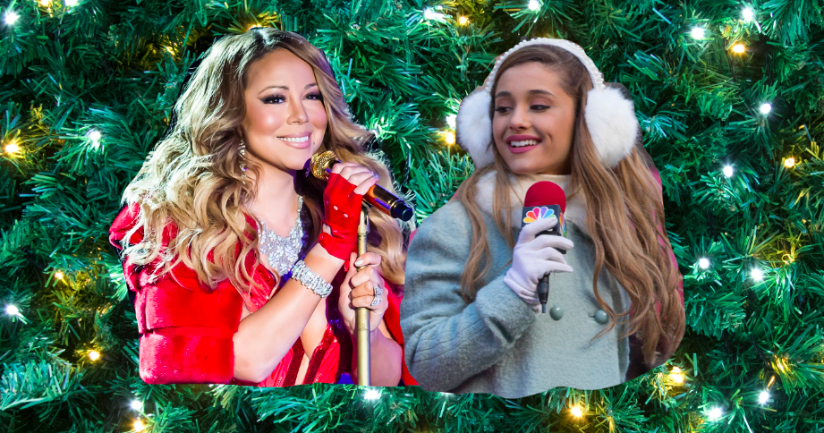 Mariah Carey and Ariana Grande each performing Christmas music