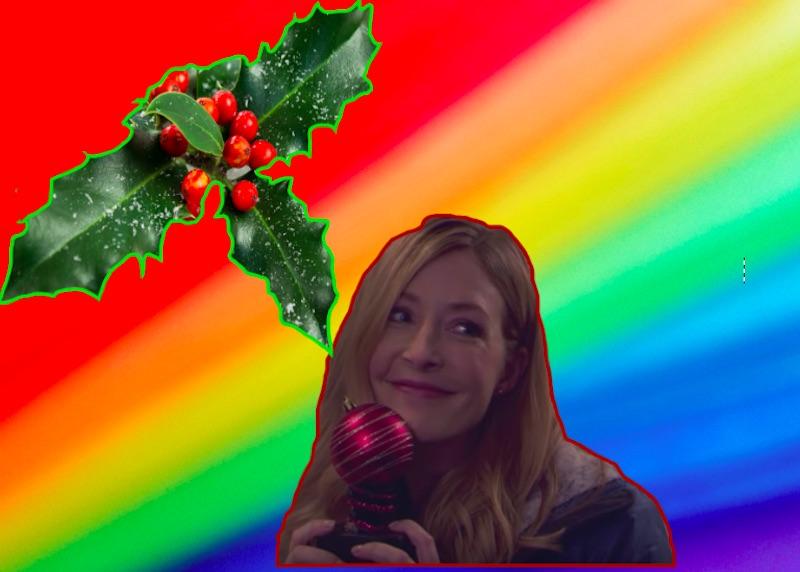 Screengrab of Hallmark movie over rainbow background