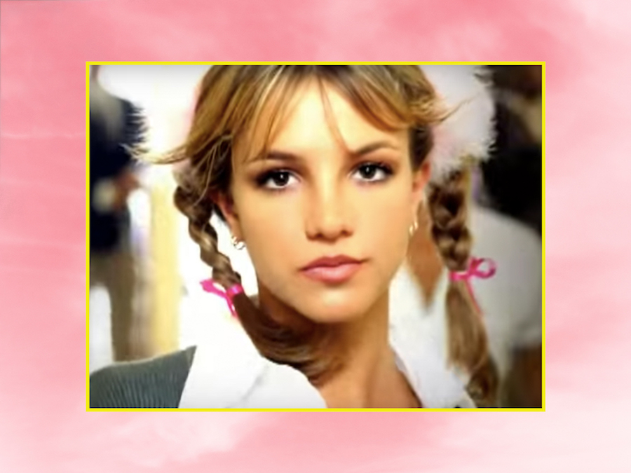 "Britney Spears ""...Baby One More Time"" video over pink background"