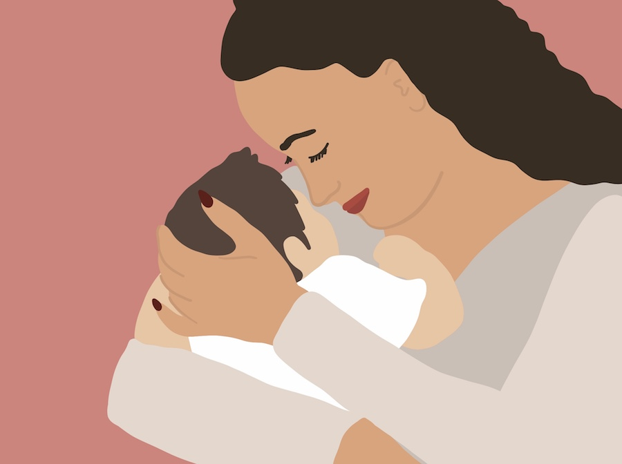 Illustration of mother holding baby