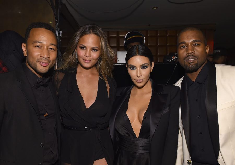 L to R: John Legend, Chrissy Teigen, Kim Kardashian, and Kanye West