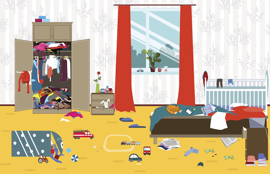 Illustration of a messy room