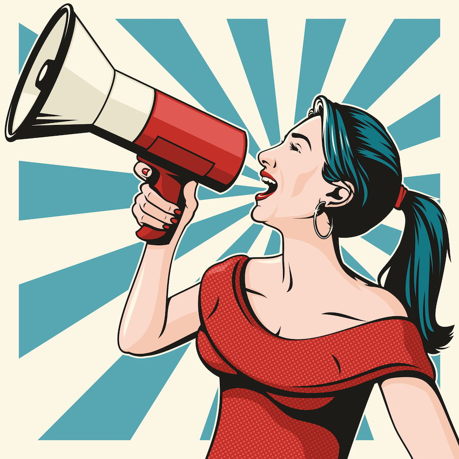 Pop art illustration of woman shouting into megaphone