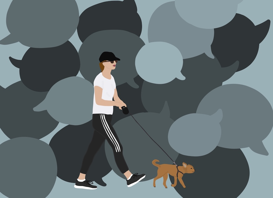 Woman walking her dog with speech bubbles in the background