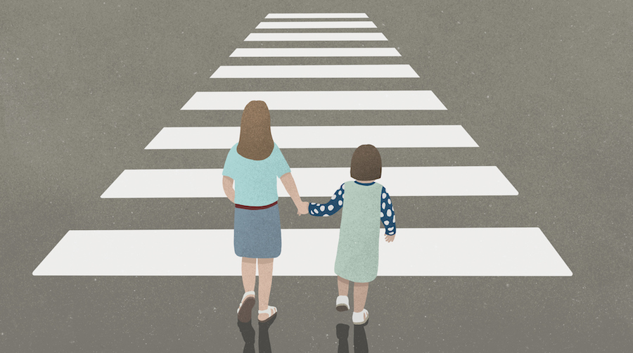 Illustration of mom holding her daughter's hand