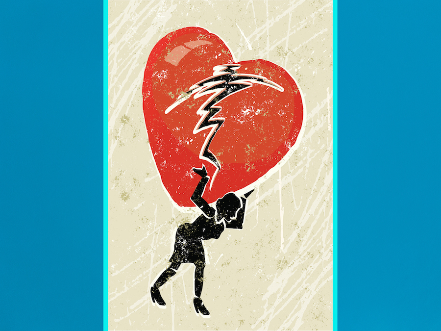 Illustration of a woman carrying a broken heart on a blue background