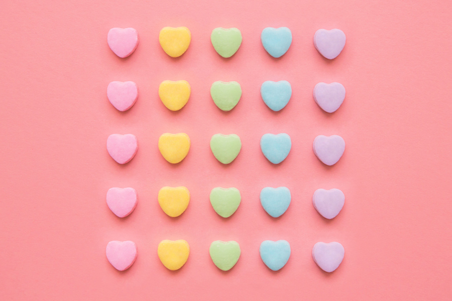 Valentine's Candy hearts in the rainbow flag