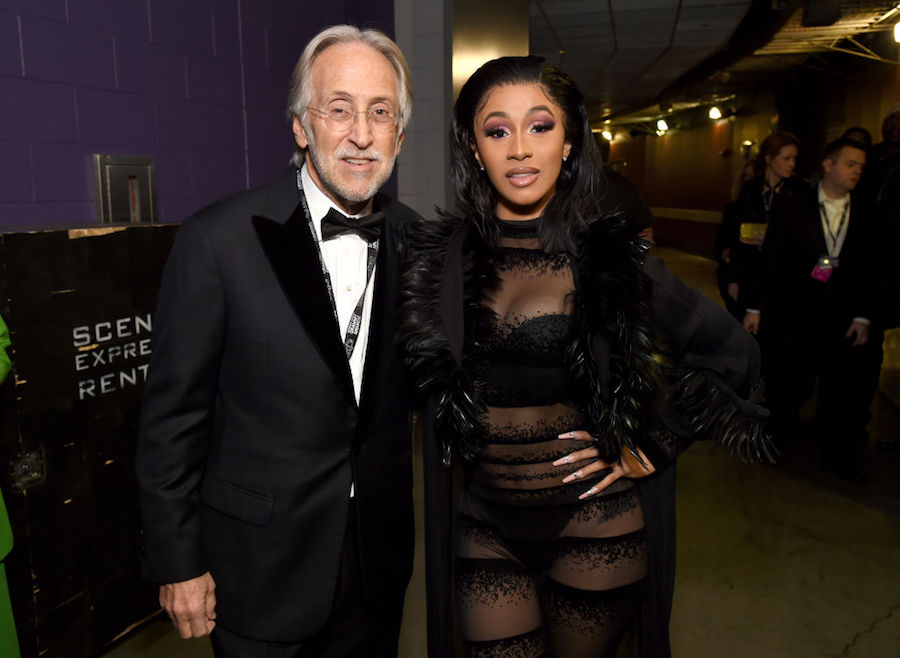 Cardi B backstage at the 61st annual Grammy Awards with Recording Academy president