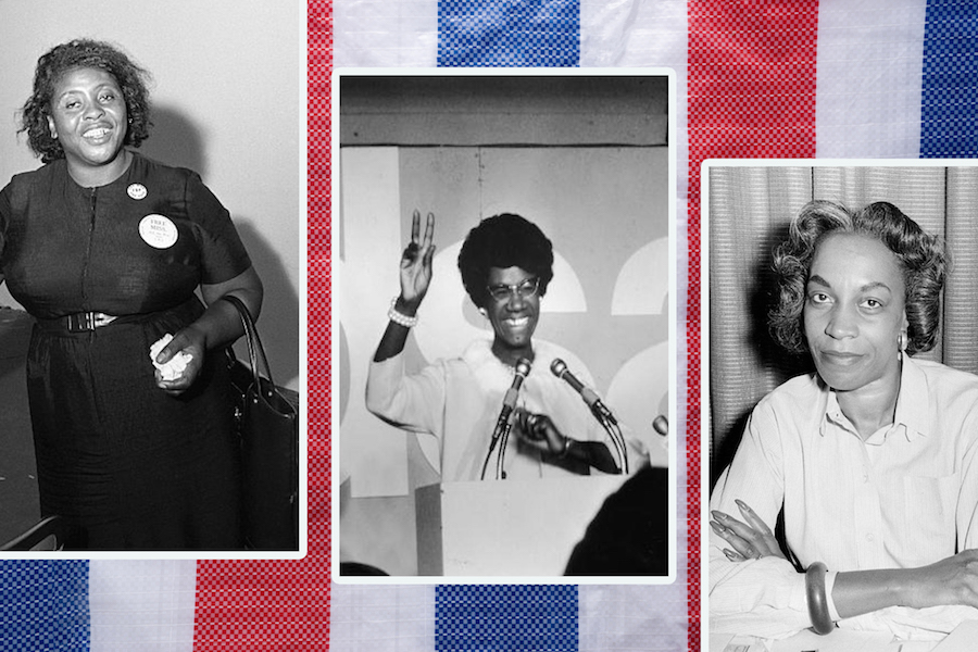 Collage of Fannie Lou Hamer, Shirley Chisholm, and Flo Kennedy