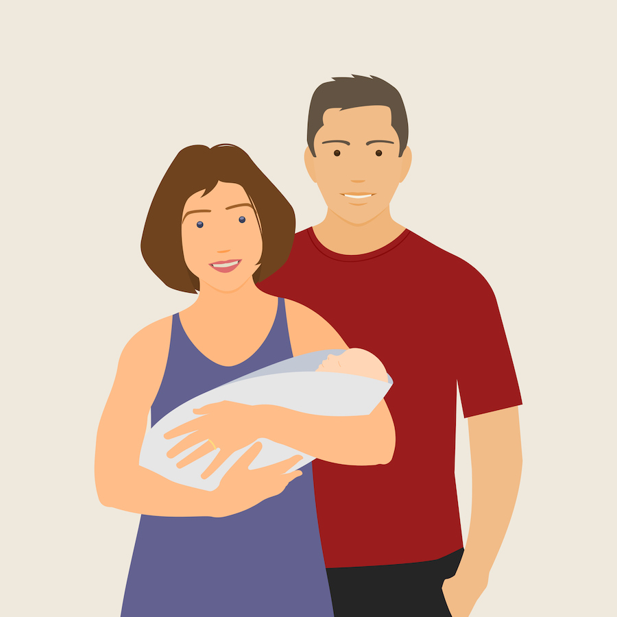 Illustration of a wife and her husband. Wife is holding baby