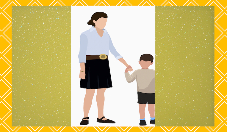 Illustration of mom and son over yellow and green backgrounds