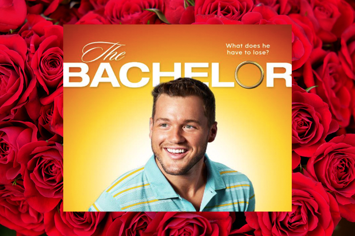 The Bachelor promo image on rose background