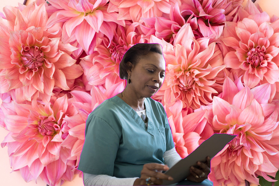 A woman doctor on a floral background