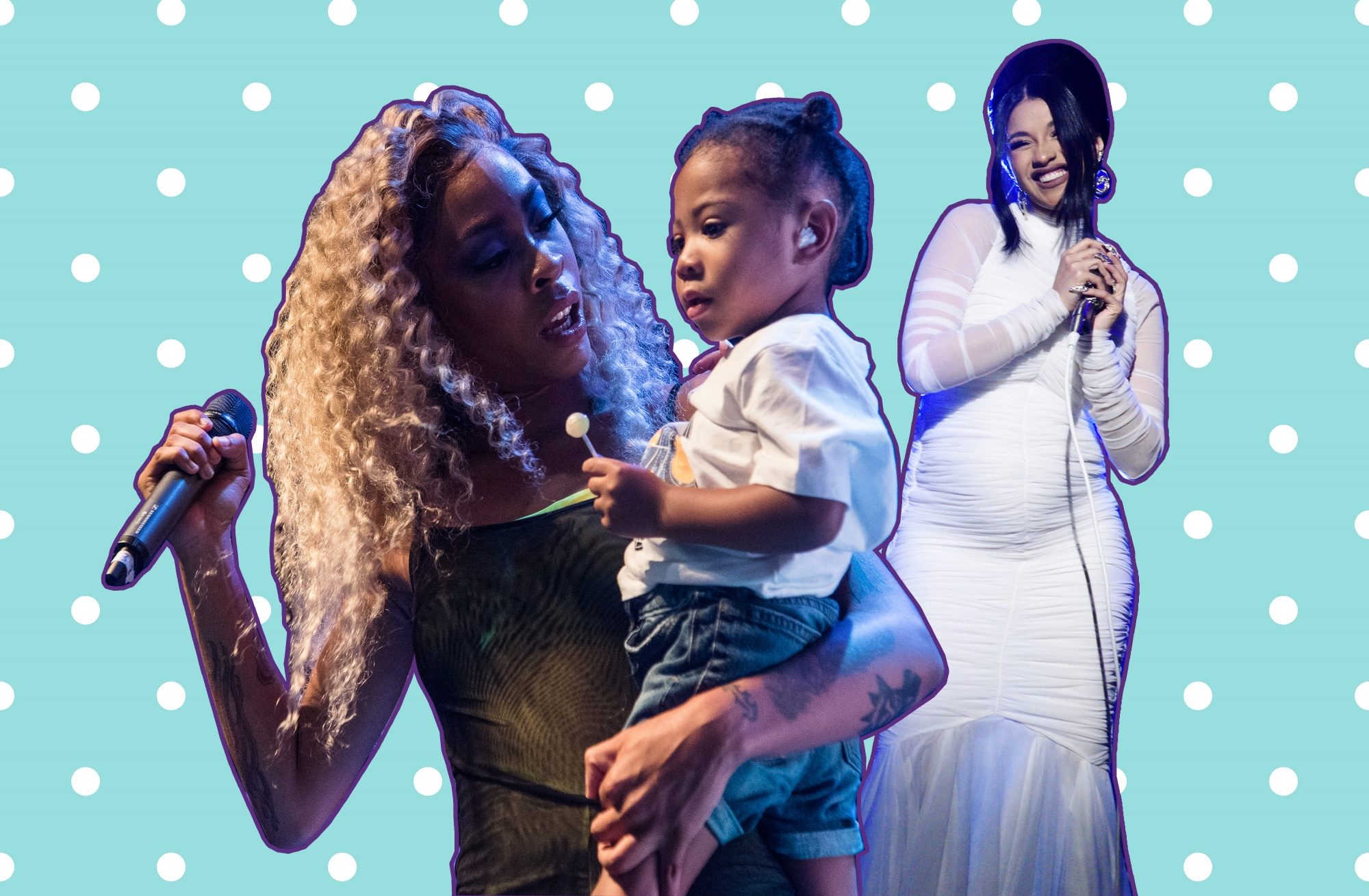 Collage of a pregnant Cardi B and Rico Nasty with her son