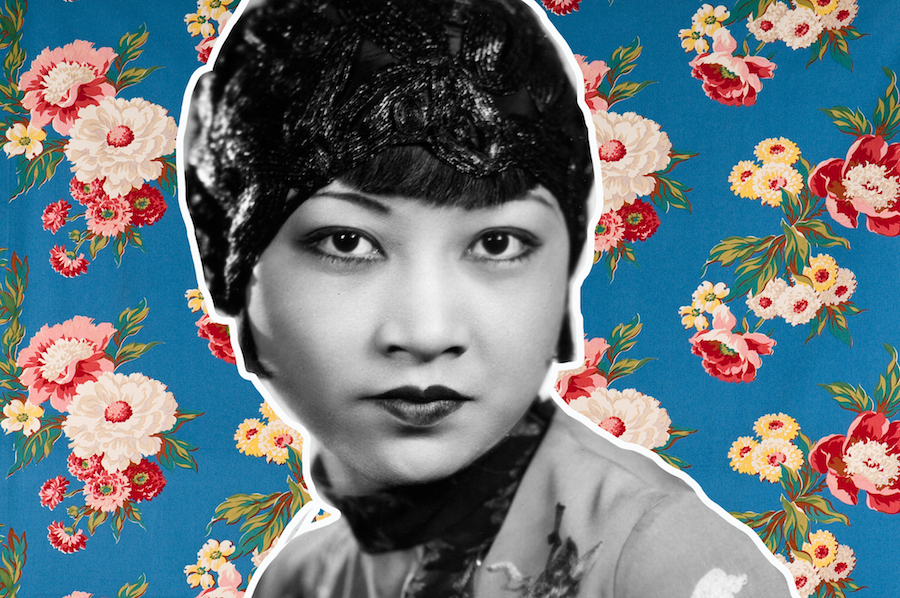 Anna May Wong collage on floral background