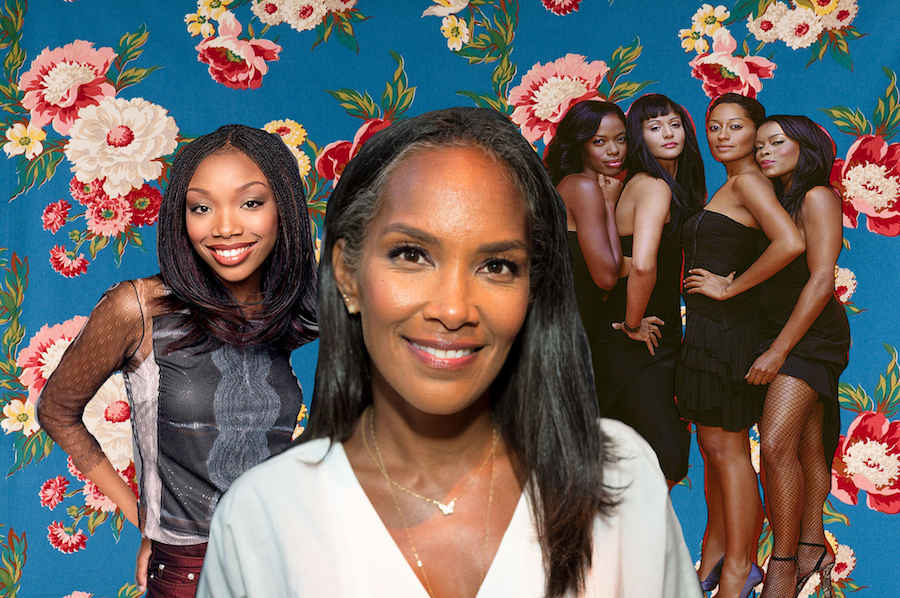 Collage of Mara Brock Akil, Moesha, and Girlfriends on floral background
