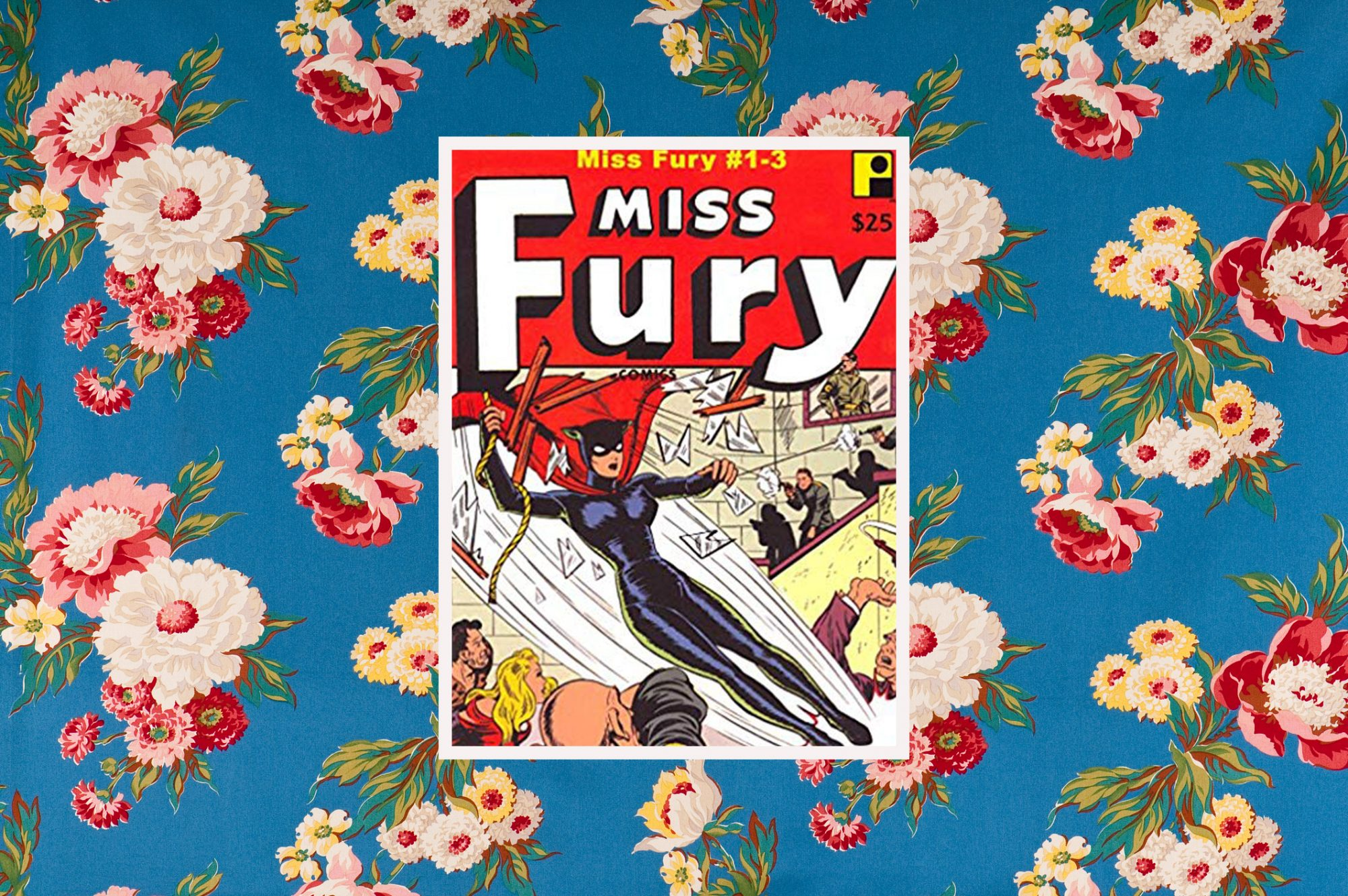 Miss Fury cover on floral background