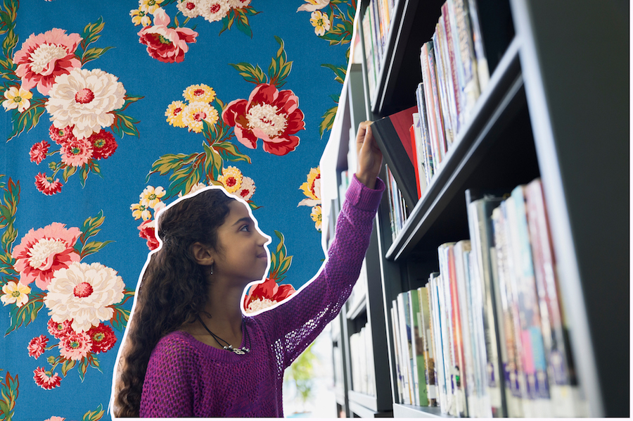 Girl at the library on a floral background