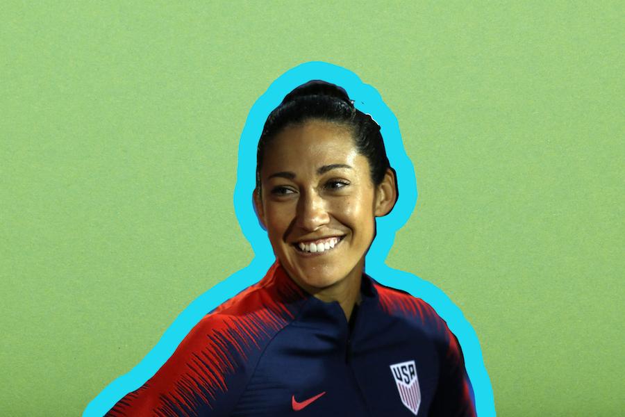 Athlete Christen Press on a green background