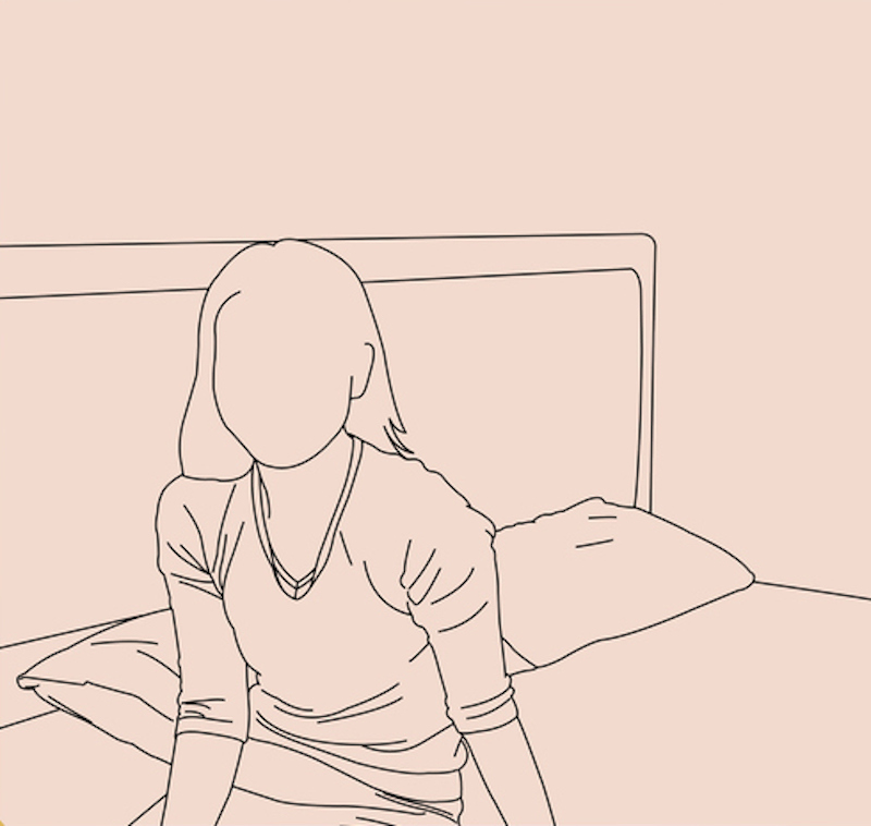 Line drawing of a woman in bed alone