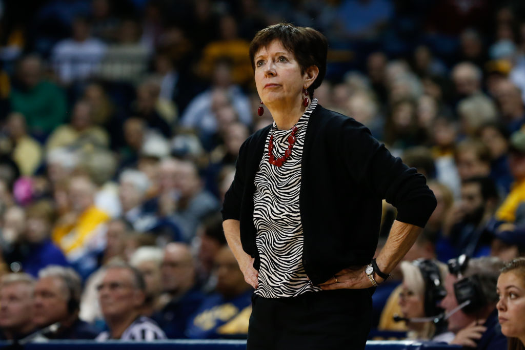 Notre Dame Fighting Irish head coach Muffet McGraw watches the action on the court during a regular season non-conference game between the Notre Dame Fighting Irish and the Toledo Rockets on December 8, 2018, at Savage Arena in Toledo, Ohio. (
