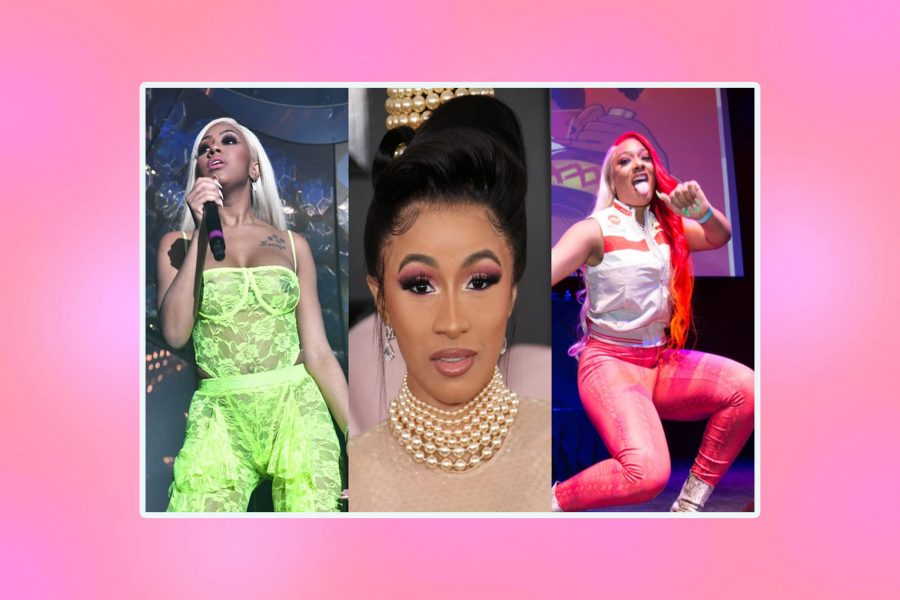 Collage of Yung Miami performing, Cardi B on the Grammys red carpet, and Megan Thee Stallion performing, on a pink background