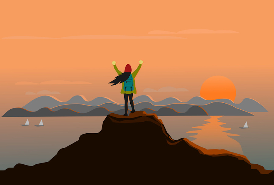 Illustration of a woman standing on top of a mountain overlooking the beach. She is wearing a backpack