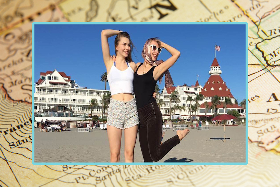 Author and her sister in San Diego, placed on a map of California