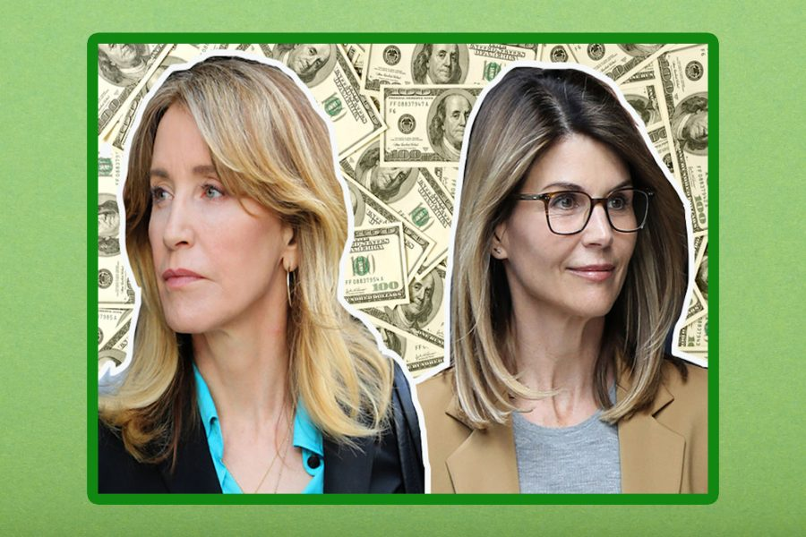 Collage of Felicity Huffman and Lori Loughlin on a $100 bills background