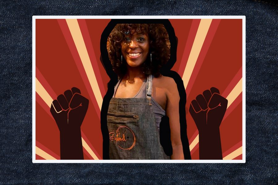 Kymme Williams-Davis surrounded by Black Power fists and red background