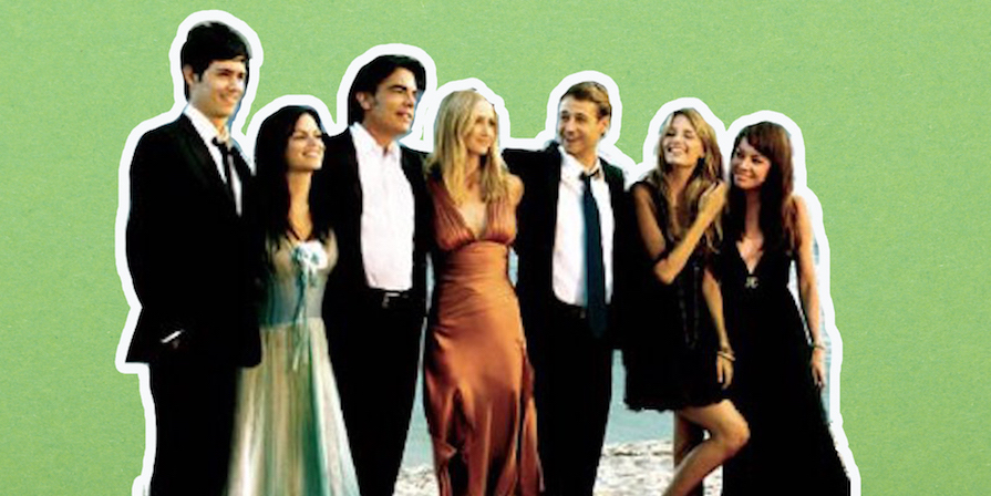 Collage of the main characters of The O.C. on a green background