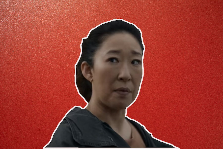 "Sandra Oh from ""Killing Eve"" on a red background"