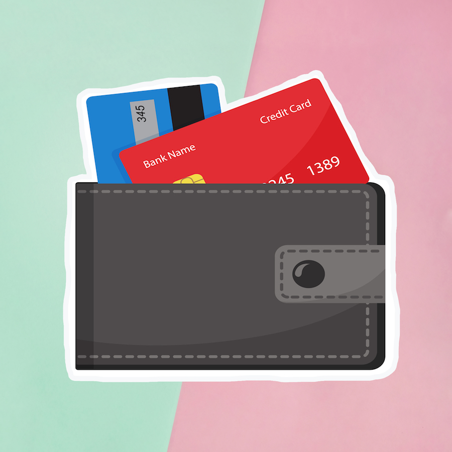 Illustration of wallet and credit cards on a green and pink background