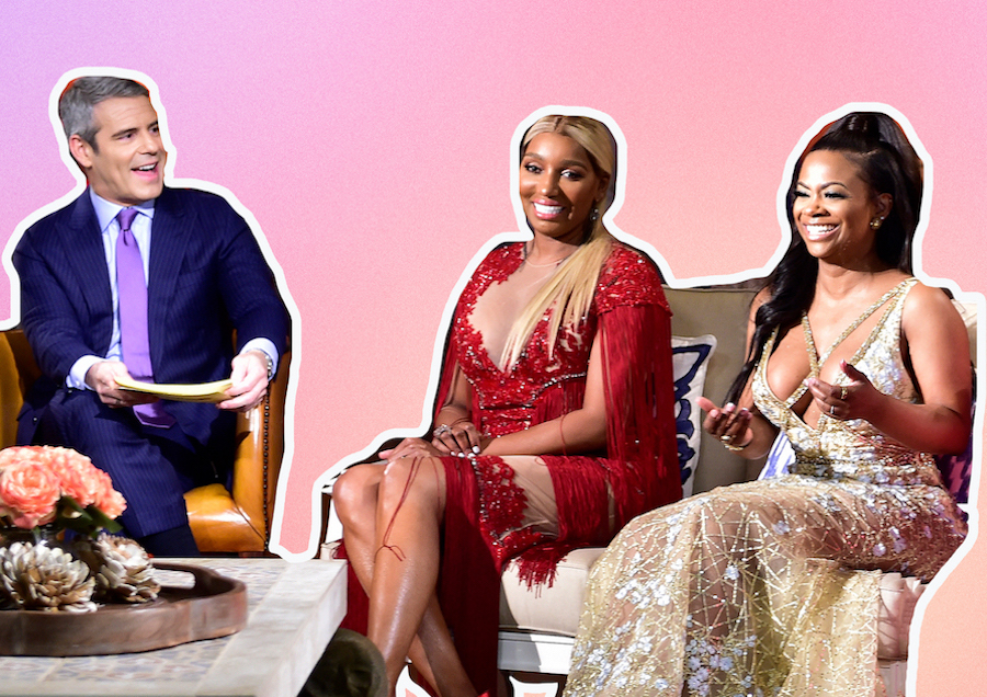 Collage of Andy Cohen, Nene Leakes, and Kandi Buruss at Real Housewives reunion