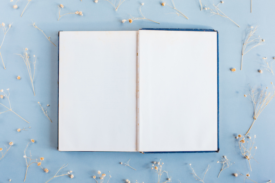 An open book on a blue table with scattered flowers around it