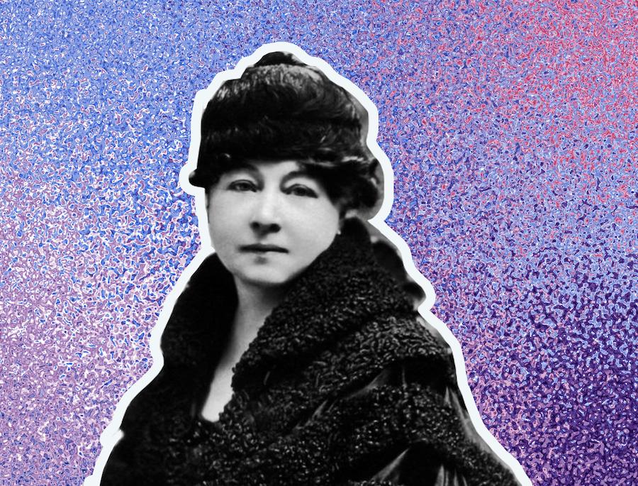 Filmmaker Alice Guy-Blaché on a purple background