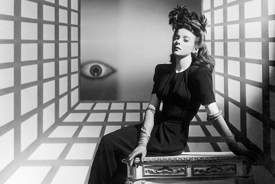 Surrealist black and white portrait of director Ida Lupino