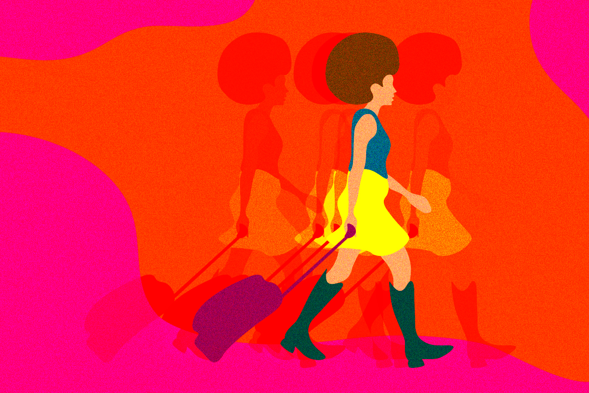 illustration of a woman traveling