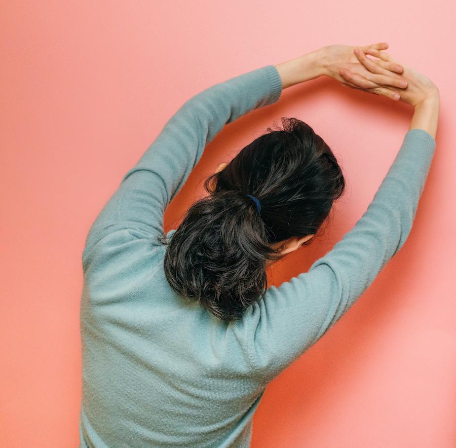 Woman in a yoga stretch