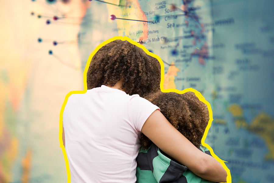 Collage of mother and son on top of a map