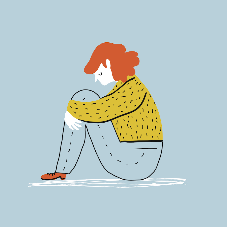 Illustration of a red-headed woman in a sweater and jeans looking sad and sitting on the floor