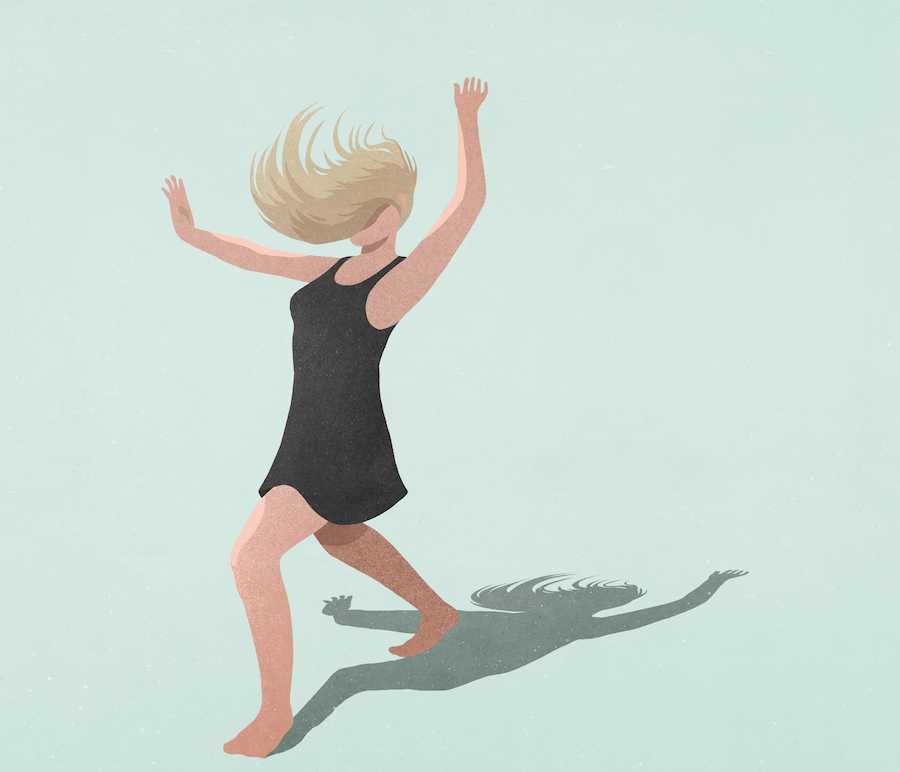 Illustration of carefree woman dancing