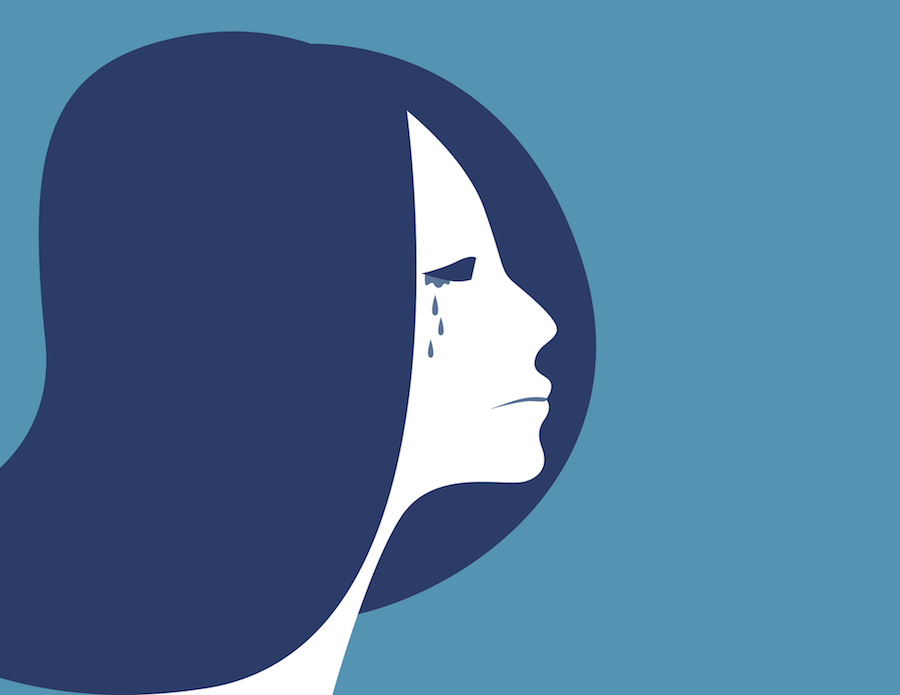 Illustration of a woman crying on blue background