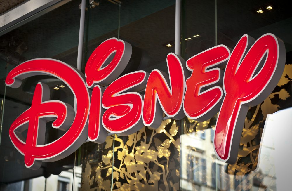 The Disney logo on a shop window
