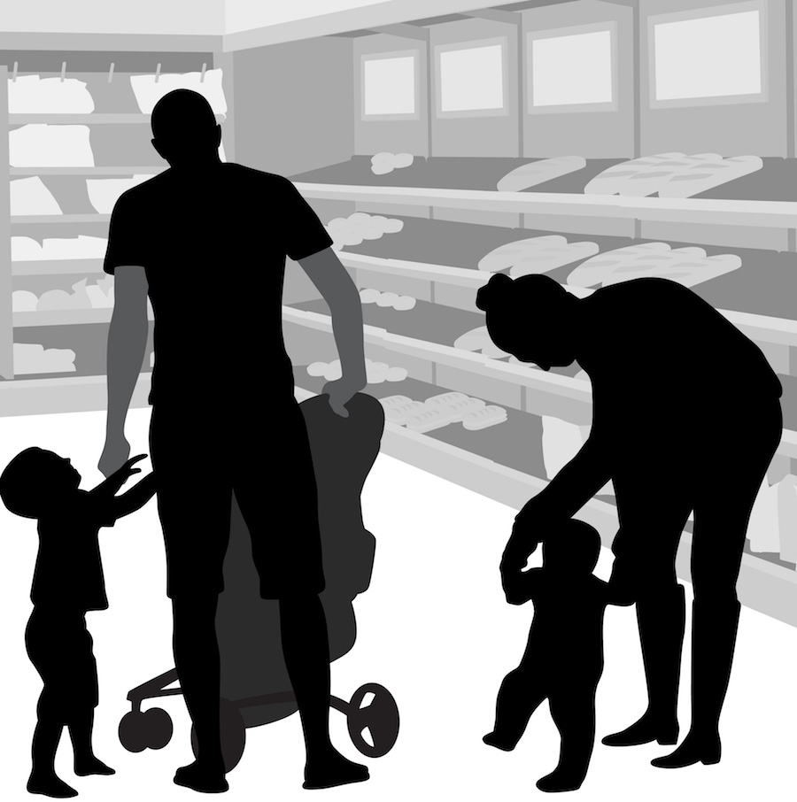 Illustration of adult daughter, grandfather, and two kids at a store