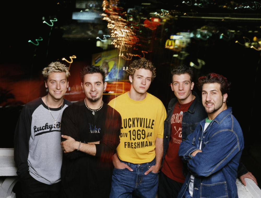 American boy band 'N Sync, 2001. Left to right: Lance Bass, Chris Kirkpatrick, Justin Timberlake, JC Chasez and Joey Fatone.