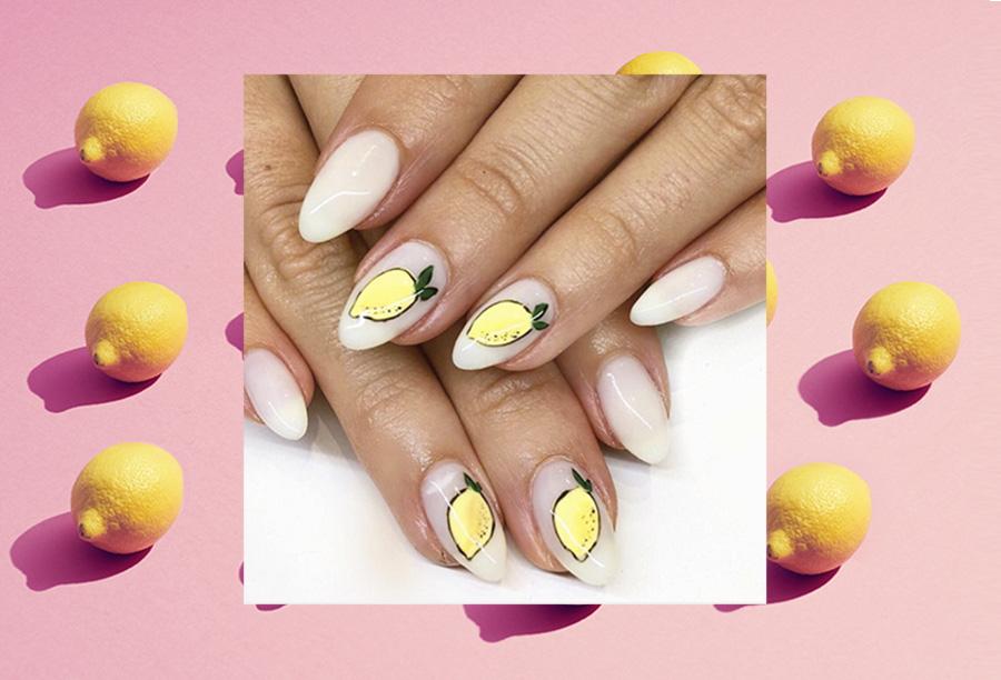 Lemon nail art trend